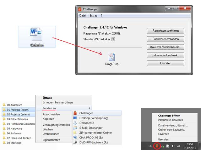 Screenshot vom Programm: Challenger Verschlüsselung